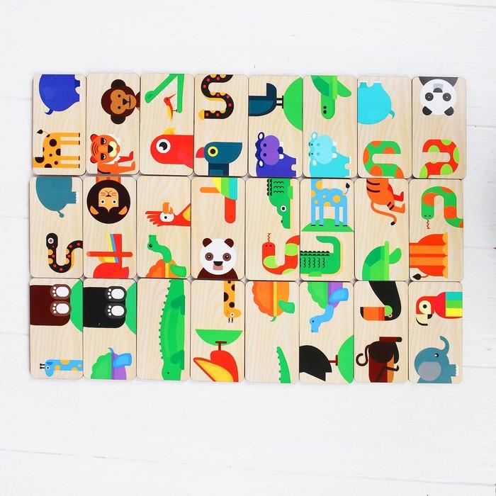 Развивающая игра «Домино. Тропические животные», пластиковая коробка