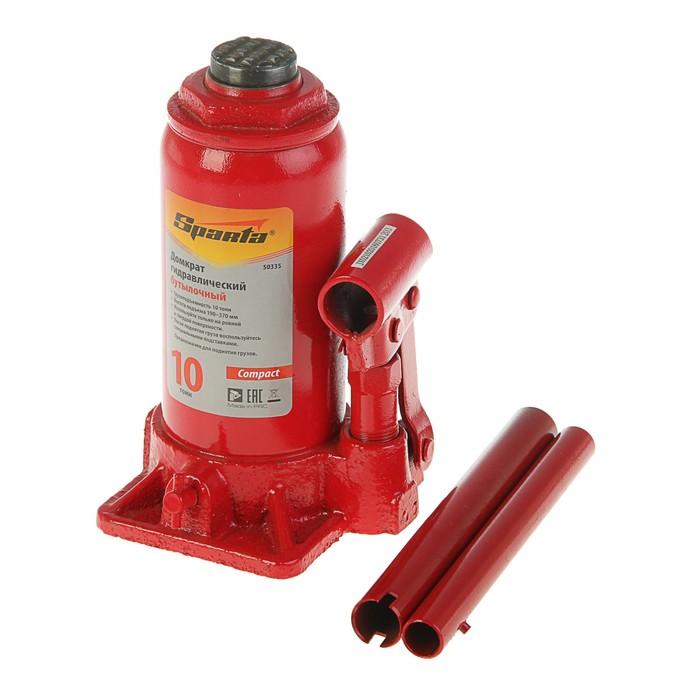 Домкрат гидравлический SPARTA Compact, 10 т, бутылочный, подъем 190–370 мм