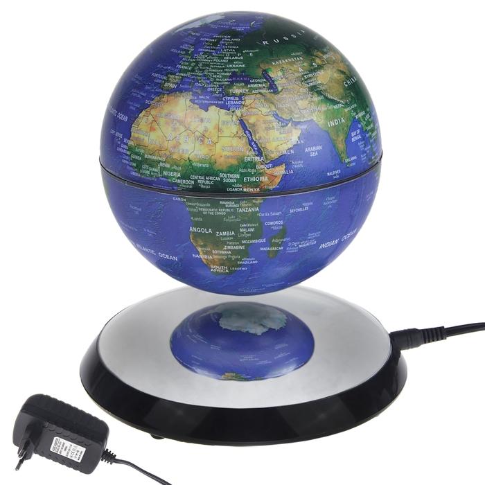 Глобус на магнитном поле, 220V, с подсветкой, пластик, голубой, 17см диск, 13см  глобус