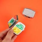 Таблетница с зеркалом, 2 секции, цвет серебристый