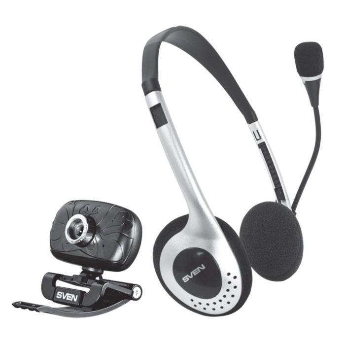 Веб-камера SVEN ICH-3500, 0.3 МП, 640x480 + гарнитура, набор, черно-серебристые