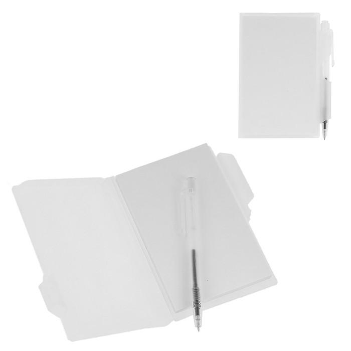 Блокнот А7 30л обложка пластик с ручкой белый