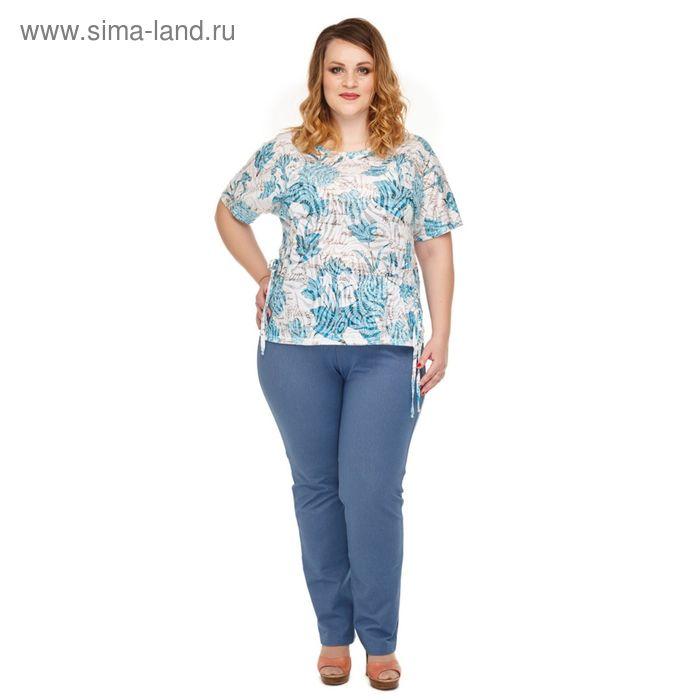 """Блуза женская """"Камилла"""", размер 52, цвет голубой  946Г"""