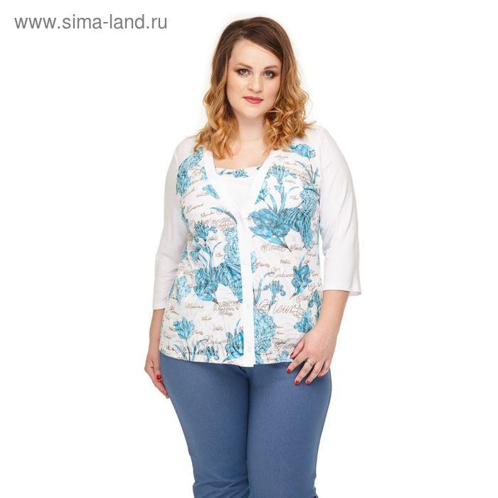 "Блуза женская ""Жасмин"", размер 52, цвет голубой 965Г"