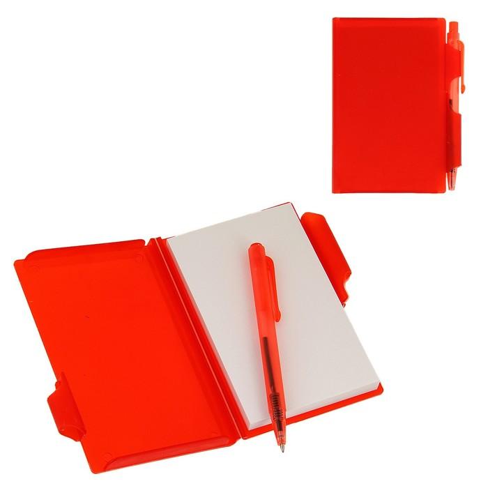 Блокнот А7 30л обложка пластик с ручкой красный
