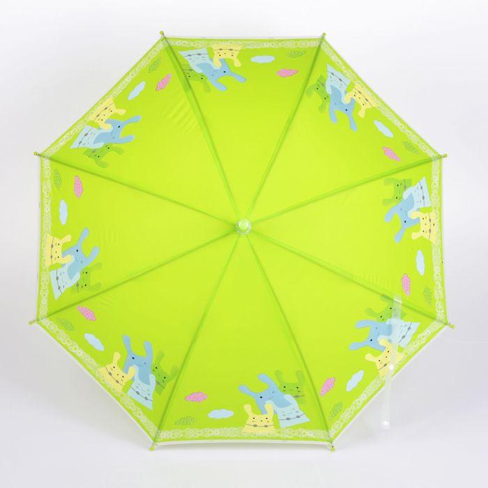 """Зонт детский полуавтоматический """"Зайчики"""", r=40см, со свистком, цвет салатовый"""