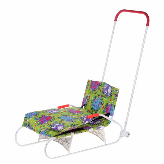 Санки складные с задним толкателем, колесами и чехлом для ног, цвет: зеленый (МИКС)