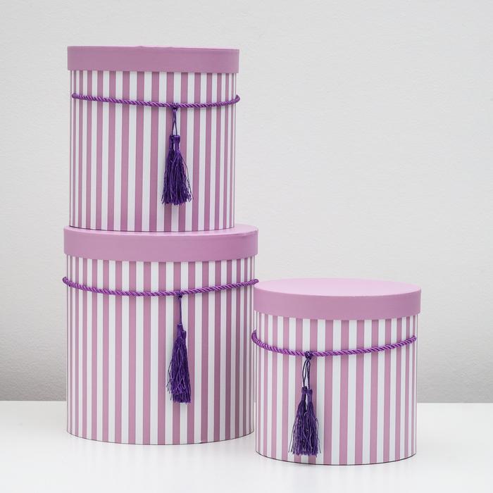 """Набор коробок 3 в 1 """"Полоски"""", фиолетовый, 24 х 24 х 26 - 19 х 19 х 20 см - фото 1751698"""