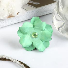 """Декор для творчества """"Зелёные цветочки со стразами"""" (набор 9 шт) 3х3 см"""