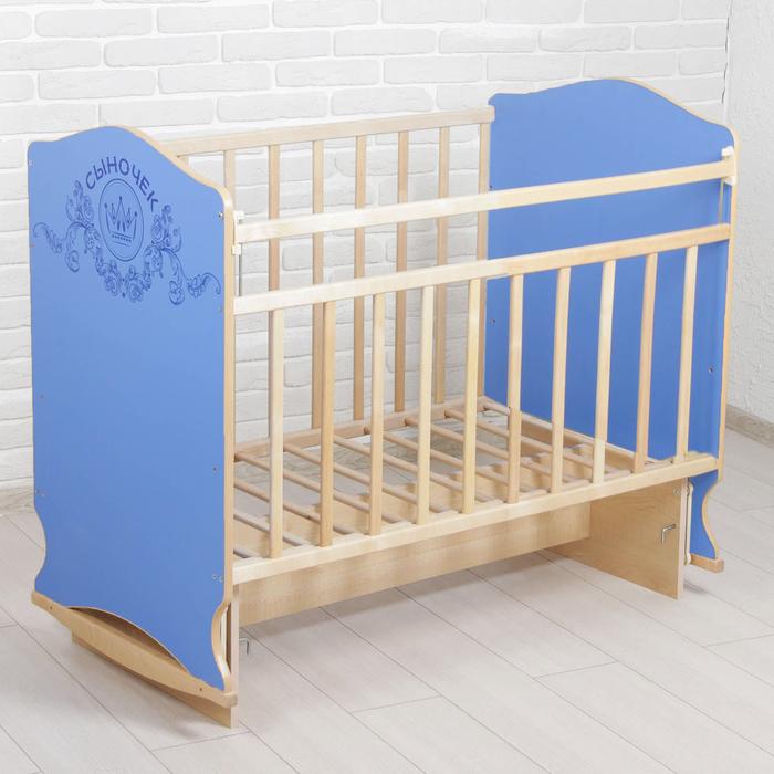 Детская кроватка «Сыночек» на качалке с поперечным маятником, цвета МИКС голубой/бежевый - фото 1751803