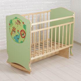 Детская кроватка «Зоопарк» на колёсах или качалке, с поперечным маятником, цвет фисташковый