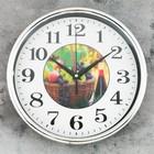 Часы настенные круг. с корзиной фруктов рама металл 26*26см
