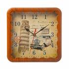 Часы настенные классика квадр пластик, края под дерево, циферблат Пизанская башня 21*21см