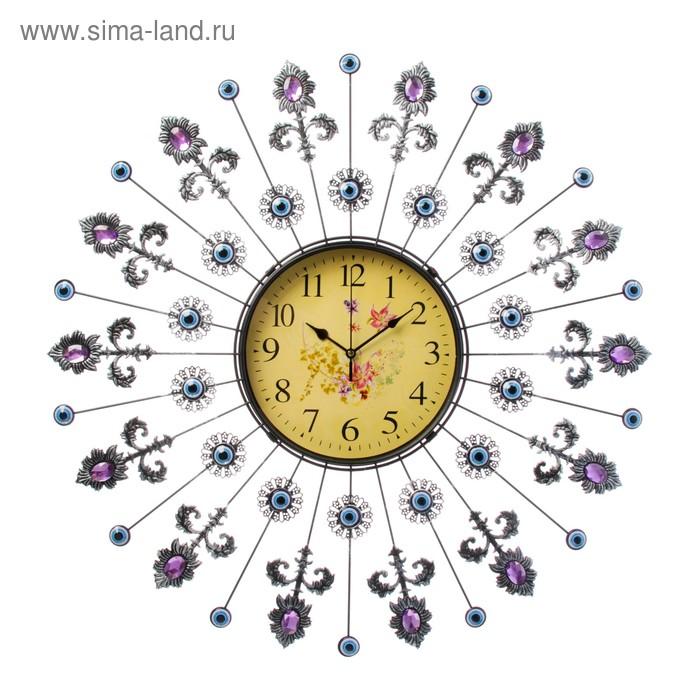 Часы настенные, серия Ажур «Цветы», стрелы с розовыми кристаллами, d=59 см