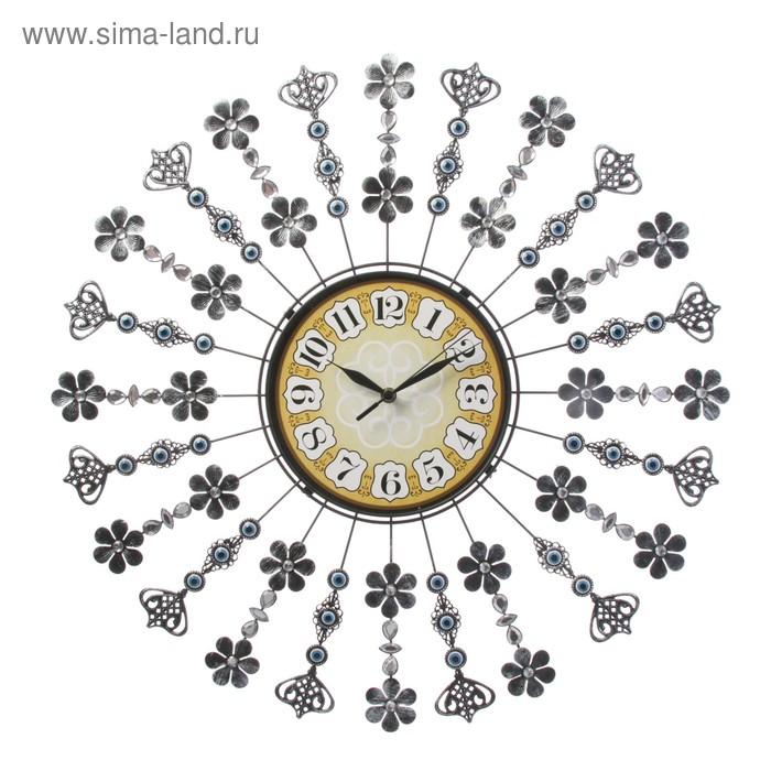 """Часы настенные, серия: Интерьер, """"Цветы"""", голубые кристаллы, хром, d=59 см"""