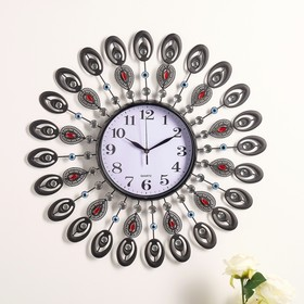 """Часы настенные, серия: Ажур, """"Павлиньи перья"""", разноцветные кристаллы, микс, d=60 см"""