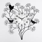 Часы настенные, серия Ажур «Весенний букет», с чёрными птицами, стразы, 60х60 см