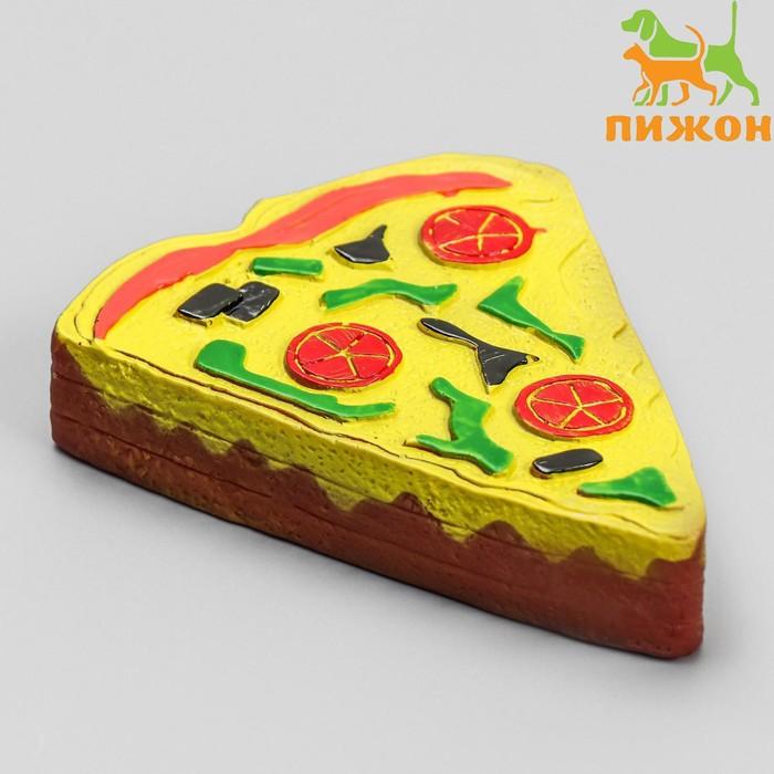 """Игрушка плотная пищащая """"Пицца"""" для собак, 12 см"""