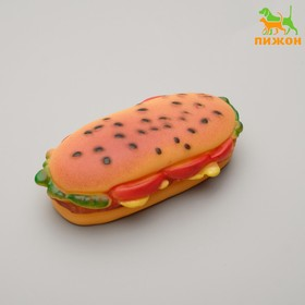 """Игрушка пищащая """"Бутерброд"""" для собак, 13 см, микс цветов"""
