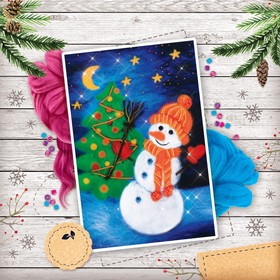 """Christmas picture made of wool """"Snowman"""", A4"""
