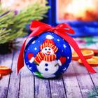 "Новогодний шар из шерсти ""Снеговик"""