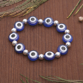 "Charm bracelet the ""Eyes"" flat with beads, color blue in silver"