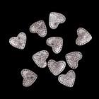 """Набор бусин для творчества металл """"Сердце с букетом цветов"""" набор 10 шт 1,1х1,3 см"""