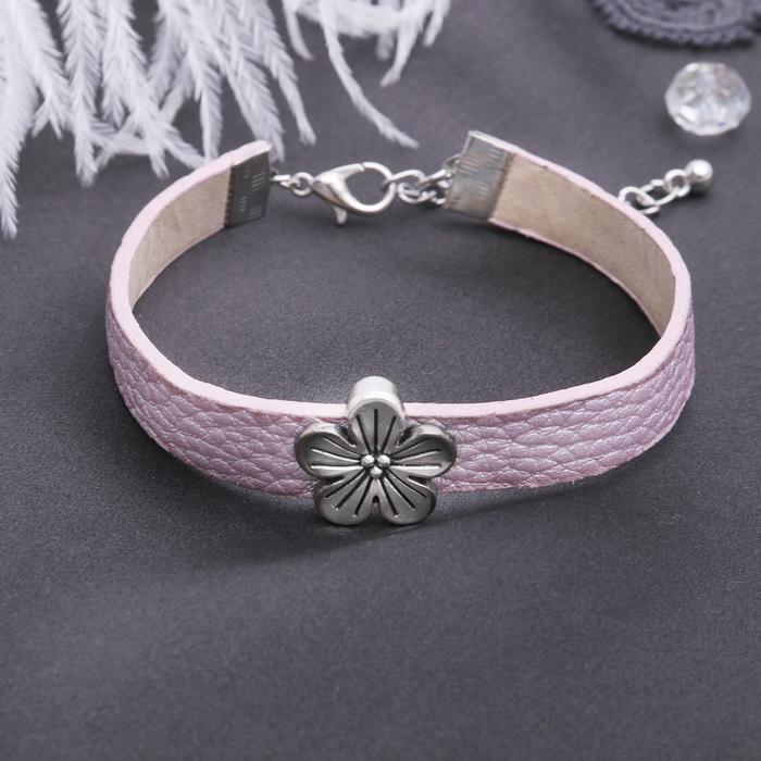 """Браслет кожа """"Настроение"""" цветок ромашка, цвет розовый в серебре"""