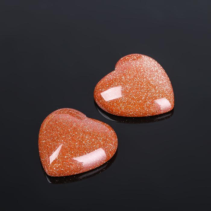 "Кабошон ""Авантюрин коричневый"" сердце 20*20мм (набор 2шт)"