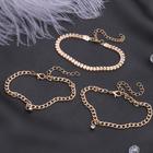 """Браслет со стразами """"Романтик"""" плоское плетение, набор 3 штуки, цвет белый в золоте"""