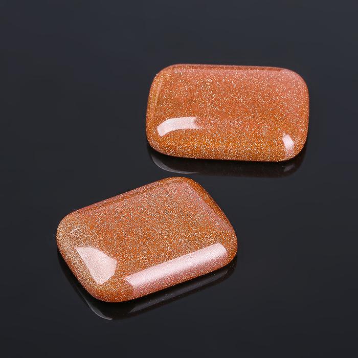 """Кабошон """"Авантюрин коричневый"""" прямоугольник 18*24мм (набор 2шт) - фото 698336"""