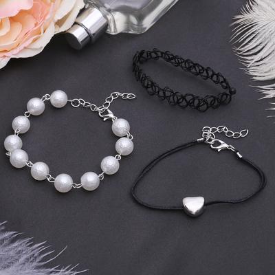 """Браслет жемчуг """"Романтик"""" чокерное плетение, набор 3 штуки, цвет бело-чёрный в серебре"""