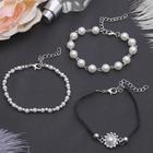 """Браслет жемчуг """"Романтик"""" бусины, набор 3 штуки, цвет бело-чёрный в серебре"""