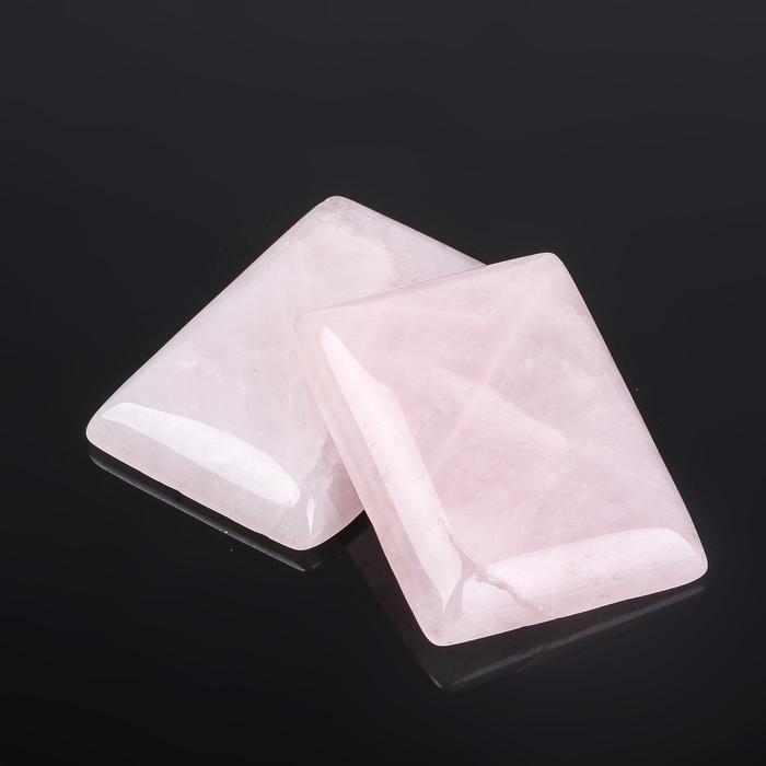 """Кабошон """"Кварц розовый"""" прямоугольник 25*35мм (набор 2 шт)"""