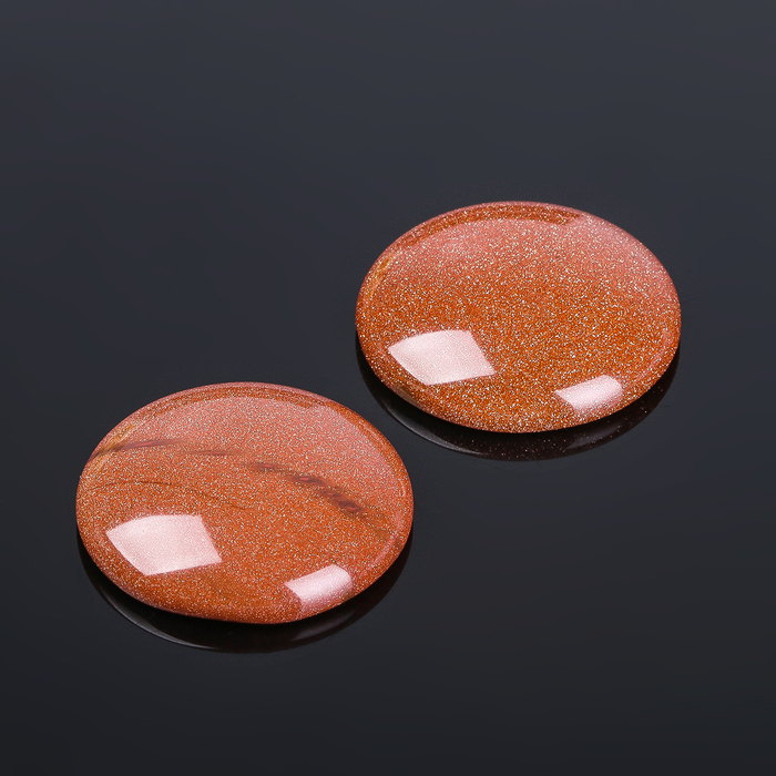 "Кабошон ""Авантюрин коричневый"" круг 25мм (набор 2 шт)"