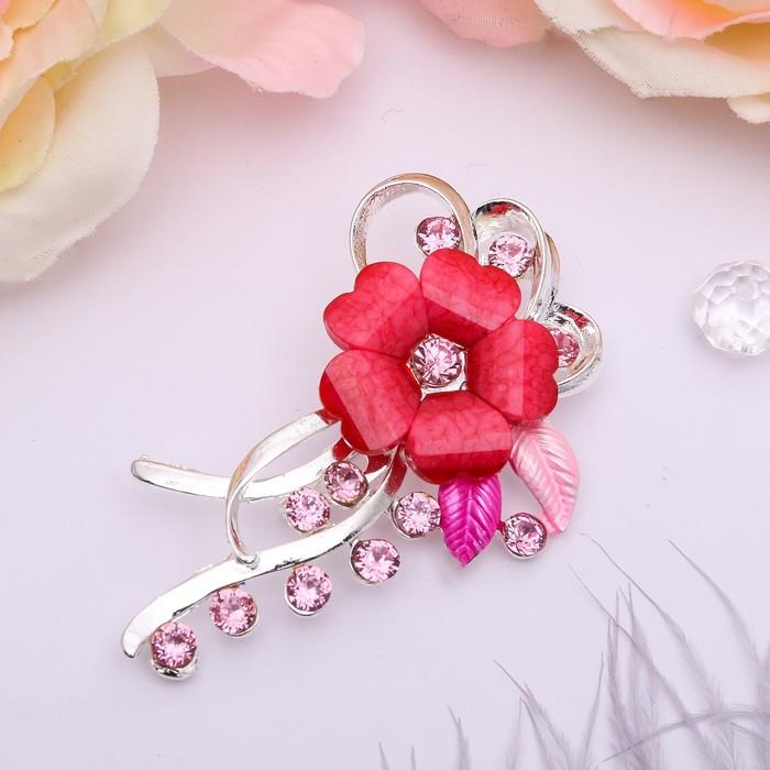 """Брошь """"Цветочная роса"""", цвет розовый в серебре - фото 274885892"""