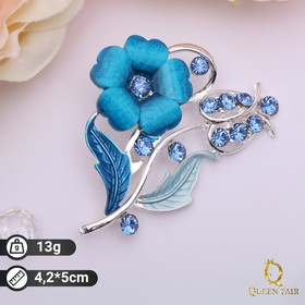 """Brooch """"Bloom"""", the color of the sea in silver"""
