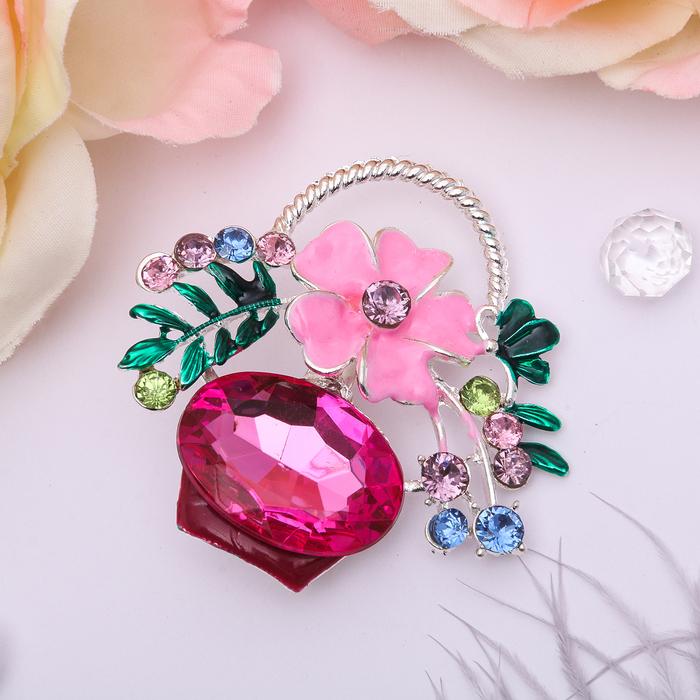"""Брошь """"Цветочная корзинка"""", цвет розовый в серебре"""