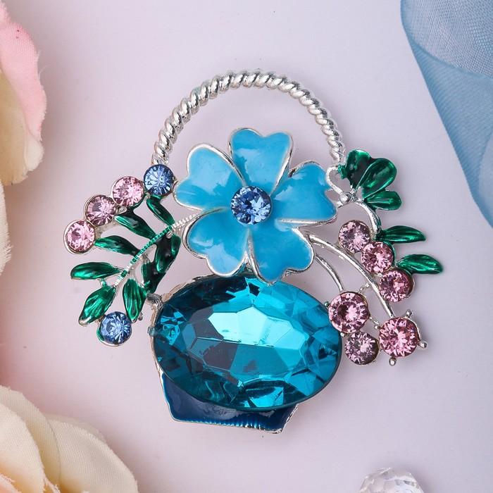 """Брошь """"Цветочная корзинка"""", цвет синий в серебре"""