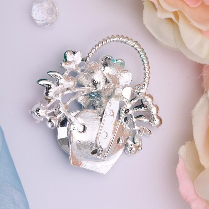 """Брошь """"Цветочная корзинка"""", цвет синий в серебре - фото 304248969"""