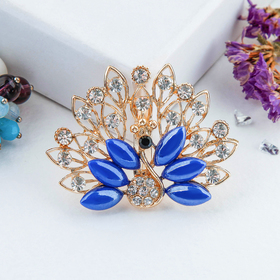 """Brooch """"Peacock"""" with a fluffy tail, blue color in gold"""