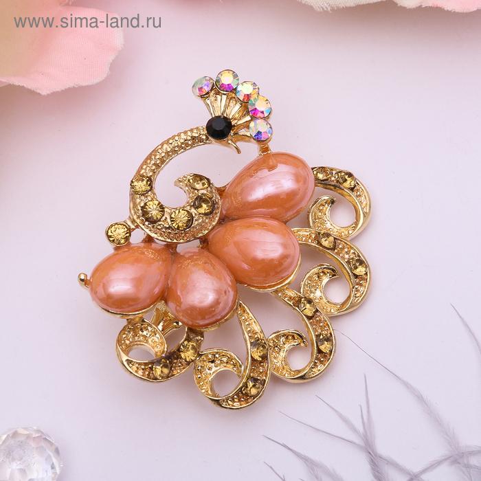 """Брошь """"Павлин"""" с радужным хвостом, цвет персиковый в золоте"""