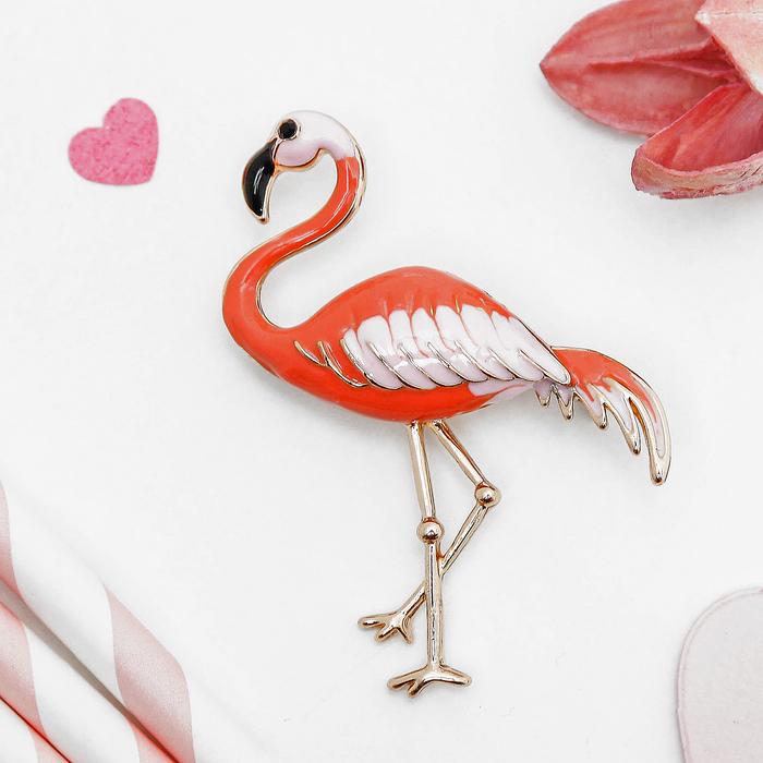 """Брошь """"Фламинго"""", цвет розово-оранжевый в золоте"""