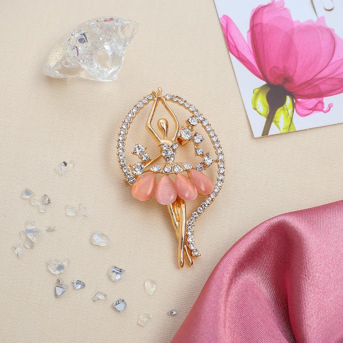 """Брошь """"Балерина"""" в рамке, цвет бело-розовый в золоте"""
