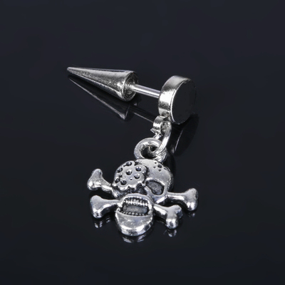Piercing in the eyebrow Skull, silver color