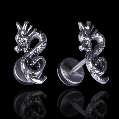 "Piercing in the ear ""Dragon"", silver color"