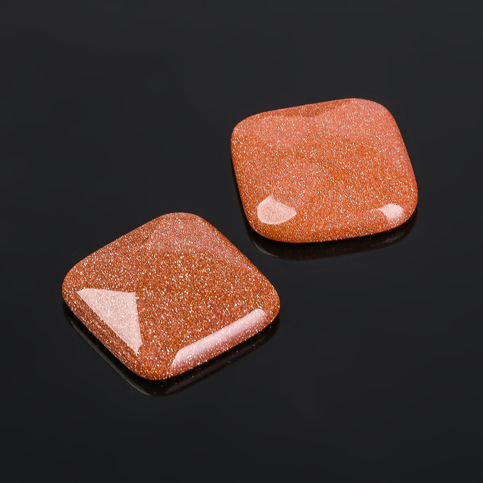 """Кабошон """"Авантюрин коричневый"""" квадрат граненый 18*18мм (набор 2шт) - фото 404005"""