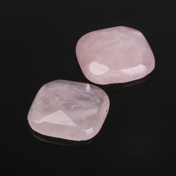 """Кабошон """"Кварц розовый"""" квадрат граненый 18*18мм (набор 2шт)"""