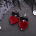 """Серьги ассорти """"Сердце"""" с бантом, объёмное, цвет чёрно-бордовый"""