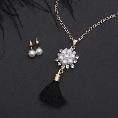 Headsets 2 items: earrings pendant Brush pearl flower, color white-black gold, 50 cm 25314